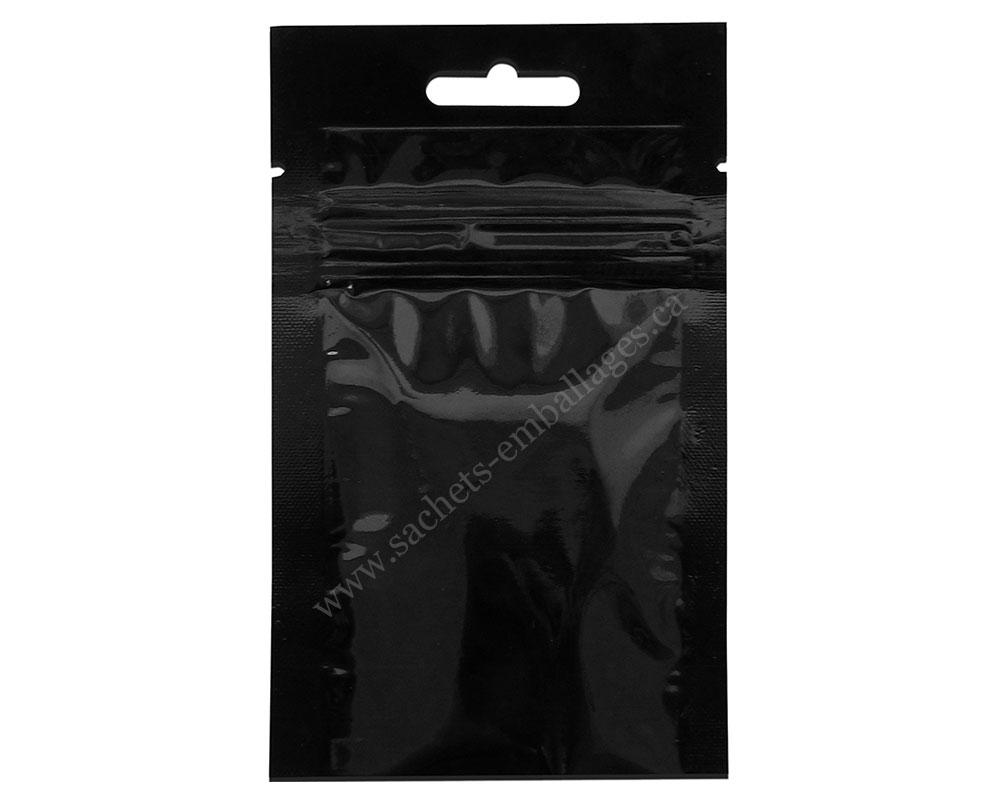 Sachet à trois côtés scellés avec glissière en noir brillant