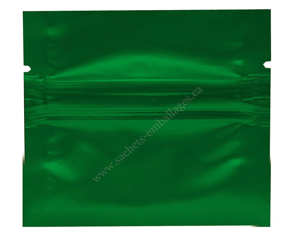 Sachet à trois côtés scellés avec glissière en vert
