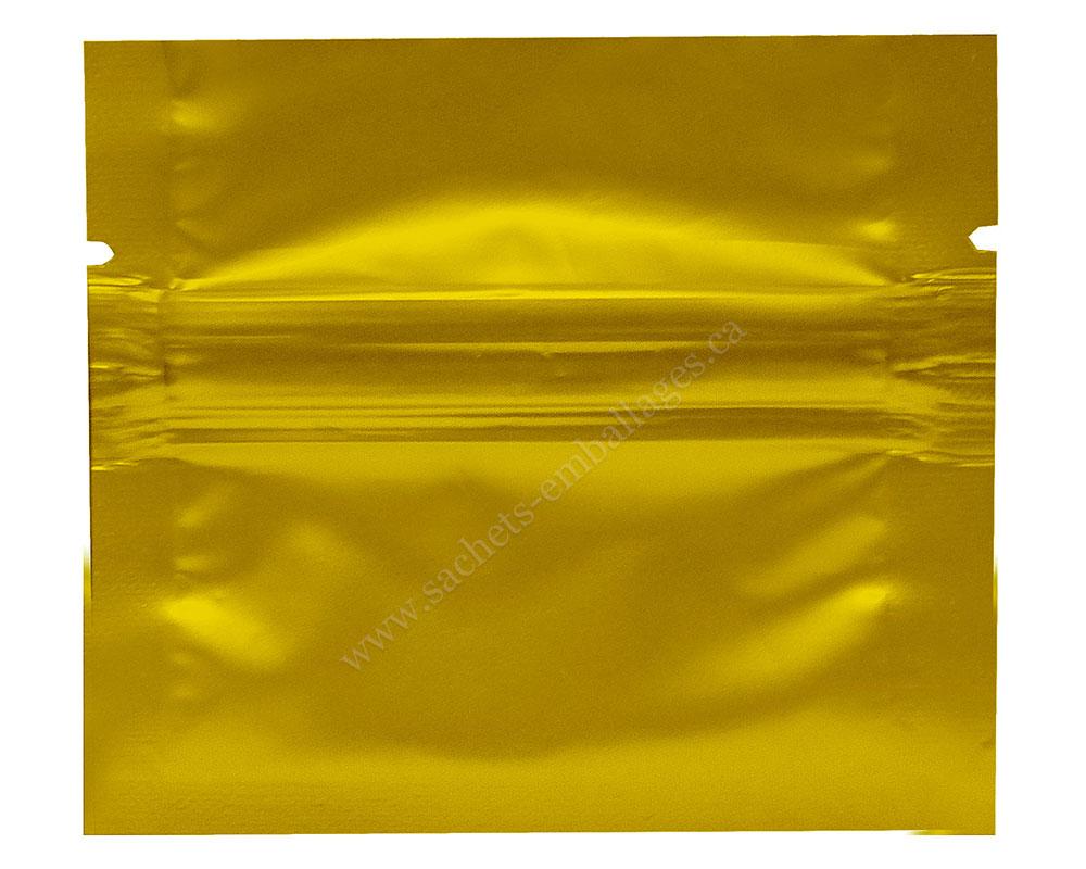 Sachet à trois côtés scellés avec glissière en or brillant