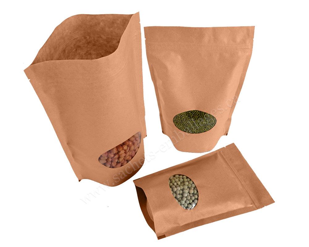 Pochettes debout en papier marron avec fenêtre ovale