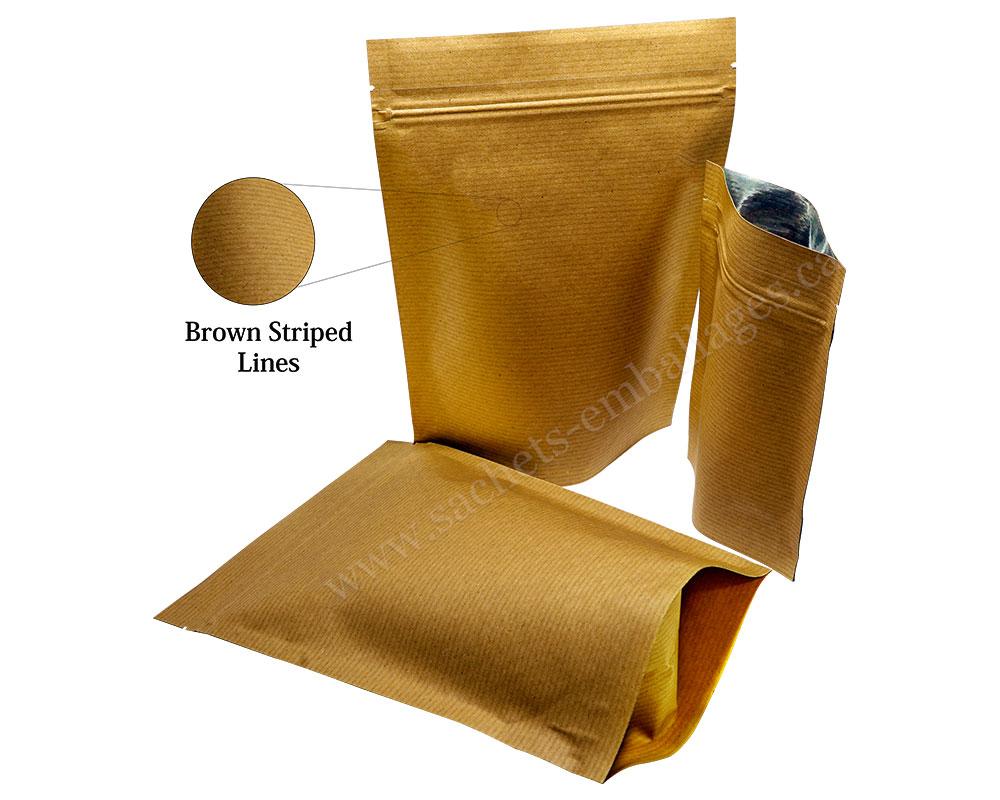 Pochettes debout en paper jaune rayé