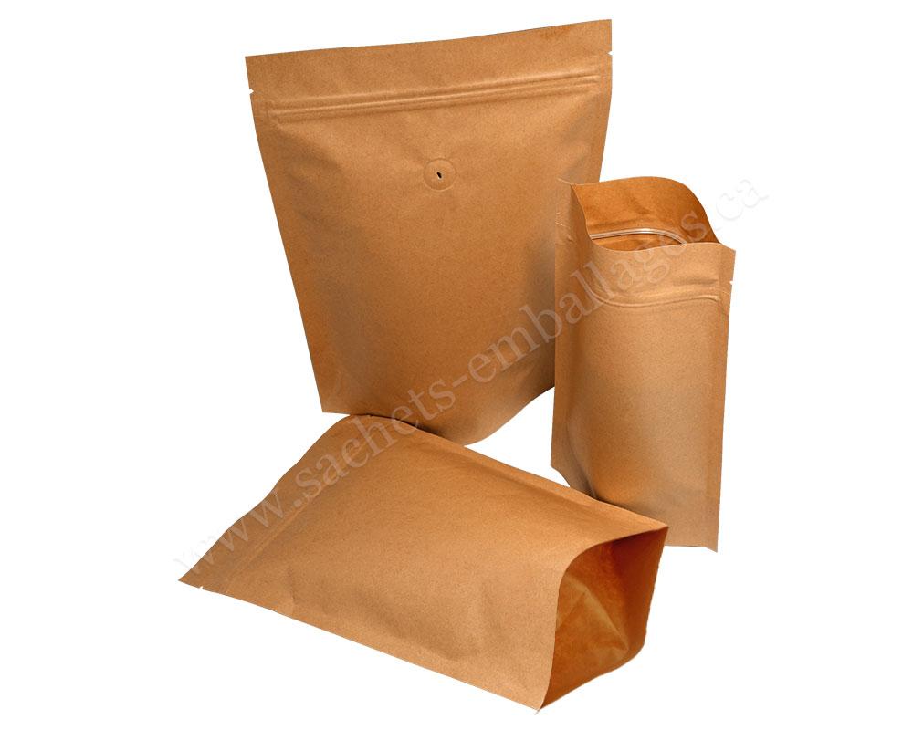 Pochettes debout en papier marron