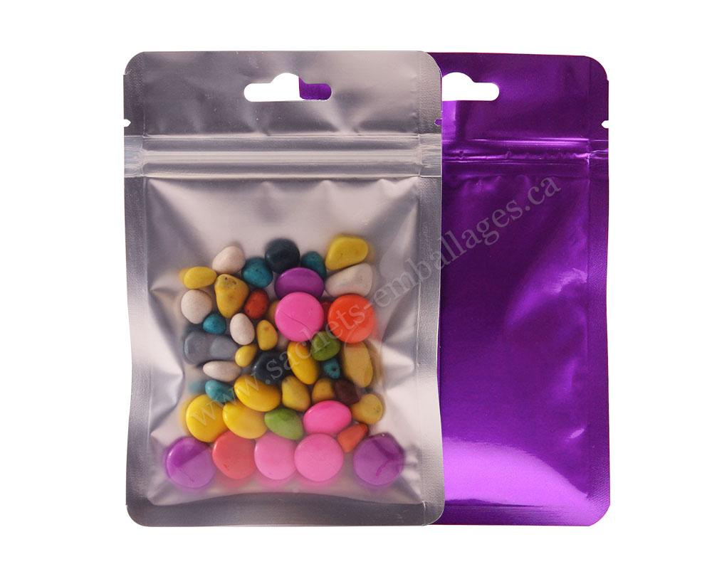 Sachet à trois côtés scellés avec glissière un côté transparent et l'autre violet