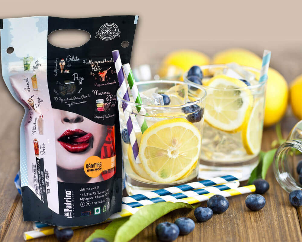 Sachet debout pour jus de fruit personnalisé par rotogravure
