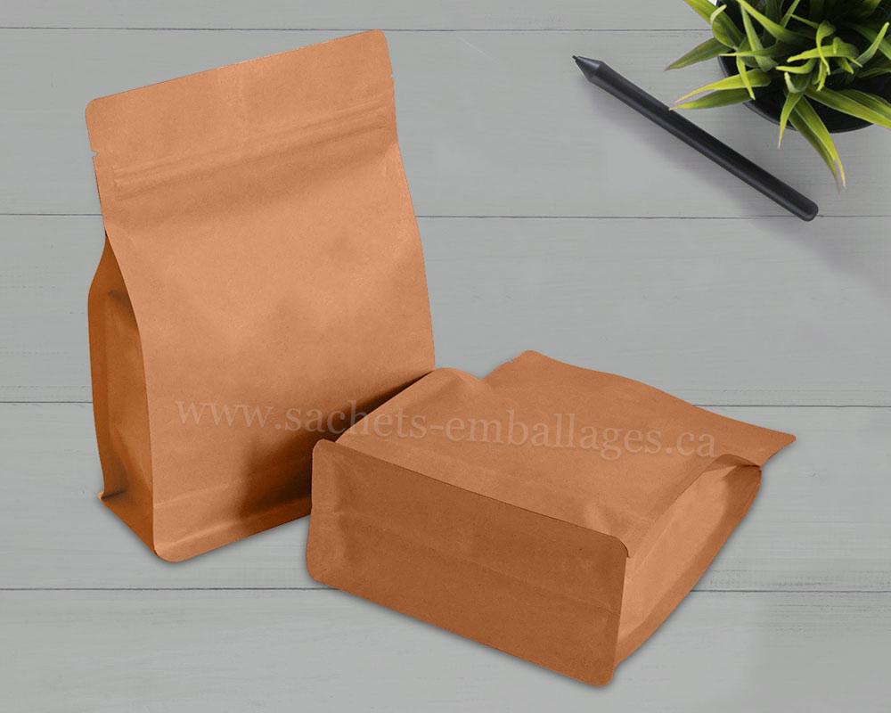 Sachet à fond plat avec glissière en papier marron