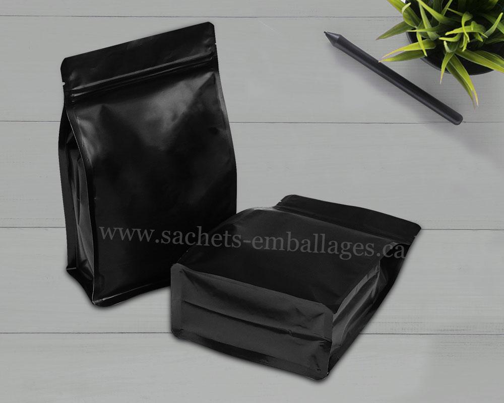 Sachet à fond plat avec glissière en noir brillant
