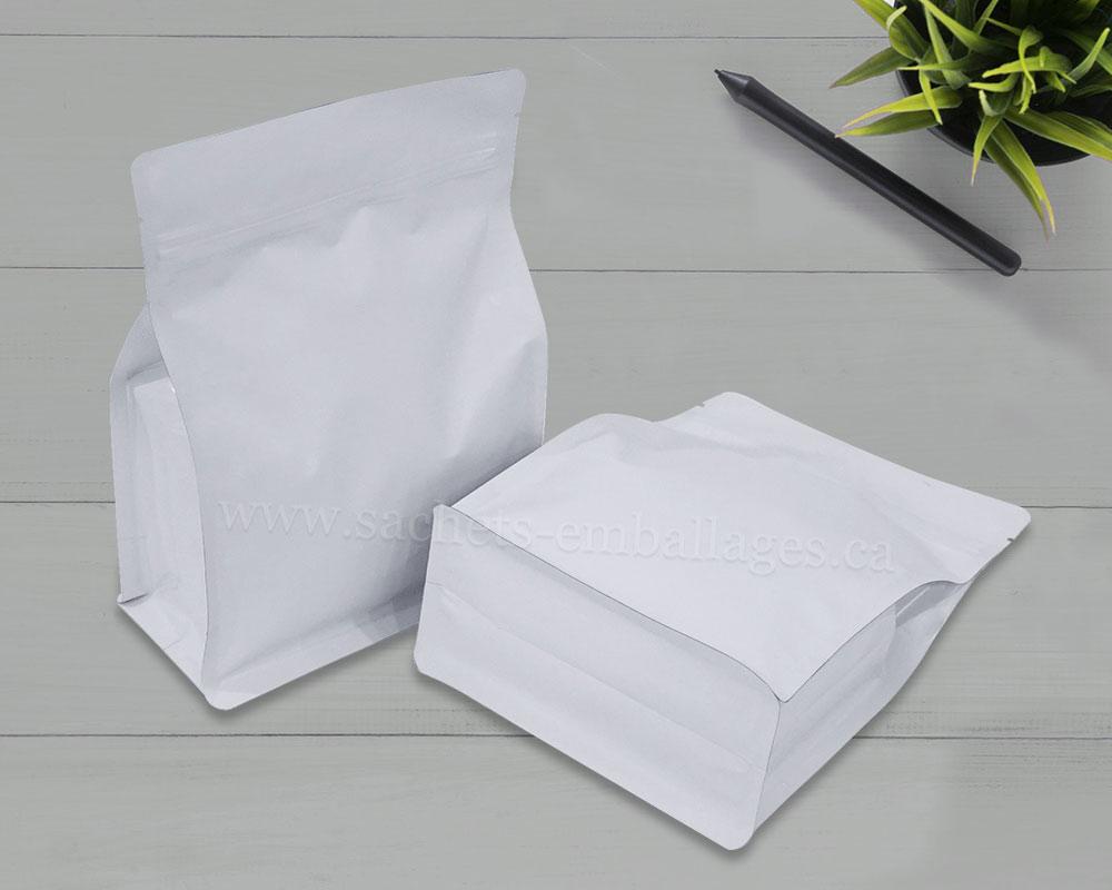 Sachet à fond plat avec glissière en blanc brillant