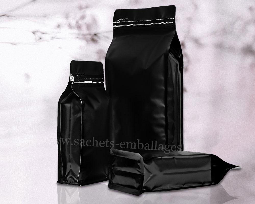 Sachet à fond plat avec glissière déchirable  en noir mat