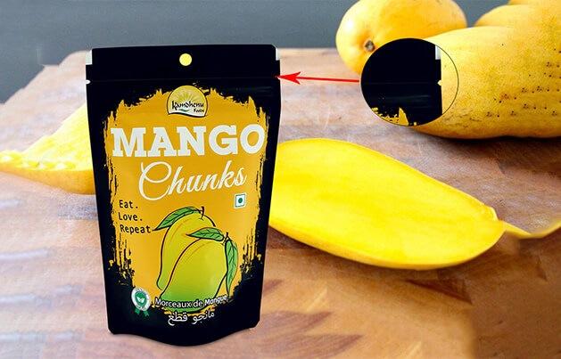Pochette debout personnalisée pour mangue séchée et marquées au laser
