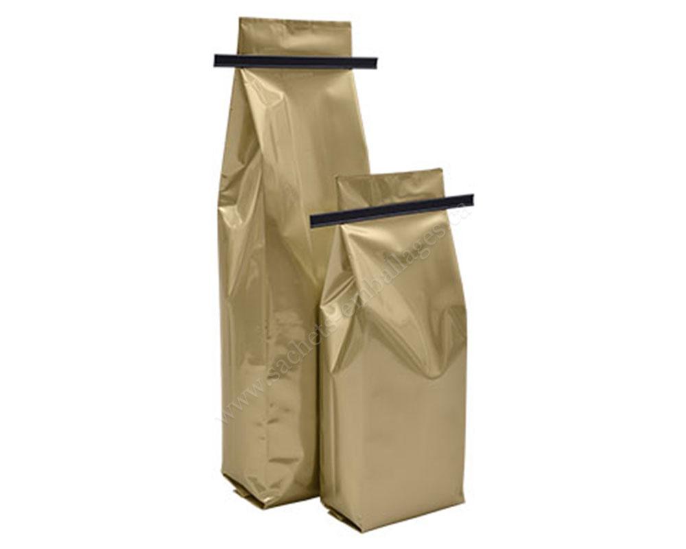 Sachet à gousset latéral en or mat avec fermeture adhésive