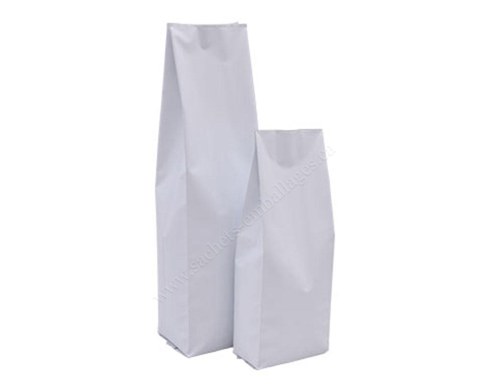 Sachet à gousset latéral en blanc mat