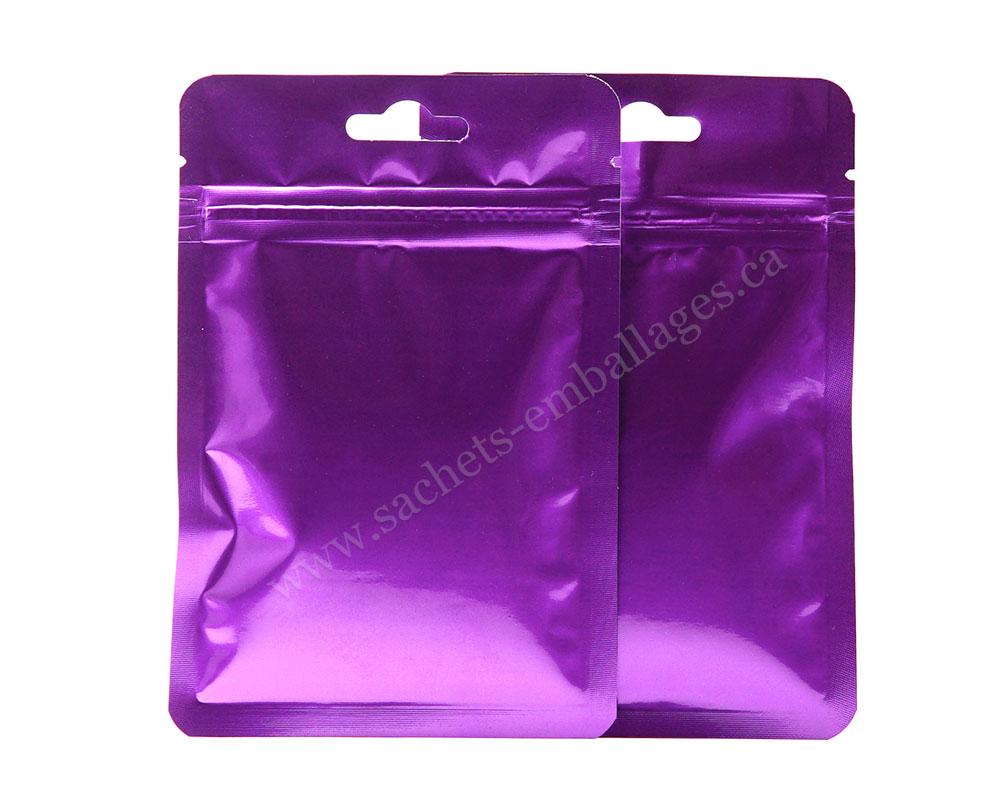Sachet à trois côtés scellés avec glissière en violet les deux côtés