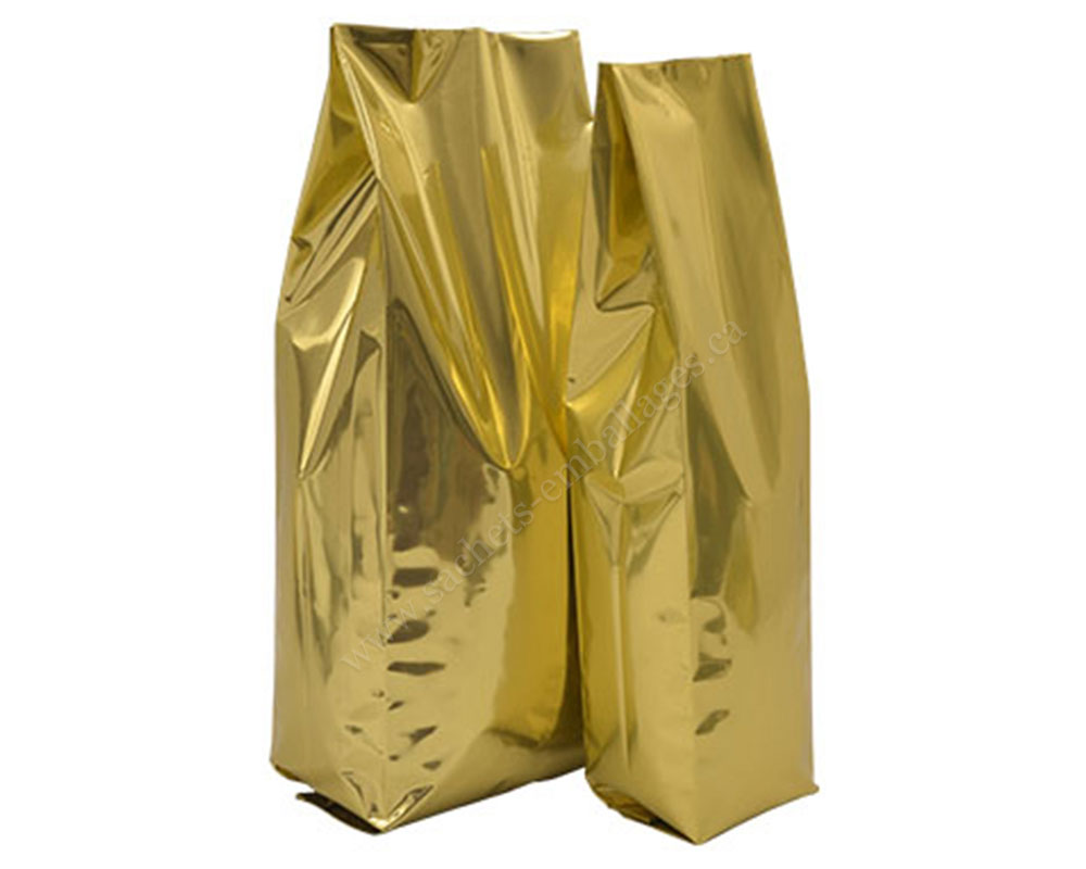 Sachet à gousset latéral en or brillant