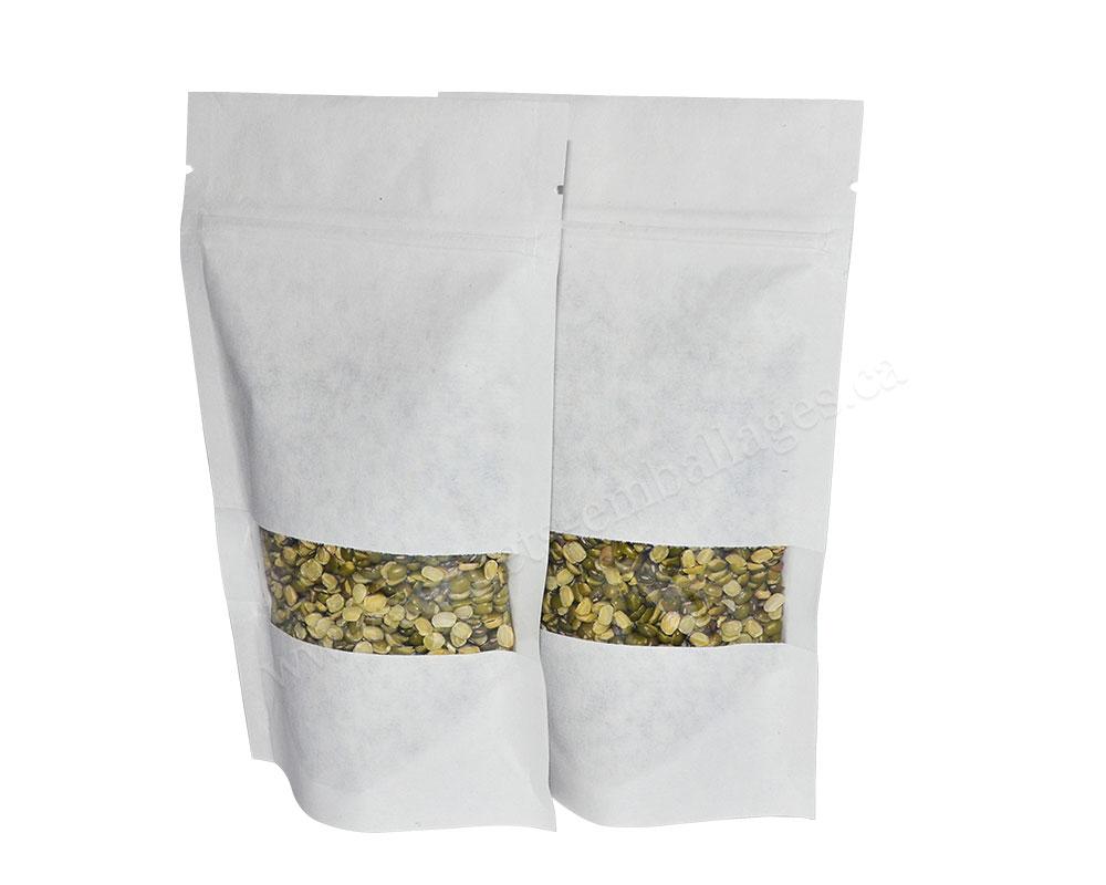 Pochettes debout en papier blanc avec pleine fenêtre rectangulaire