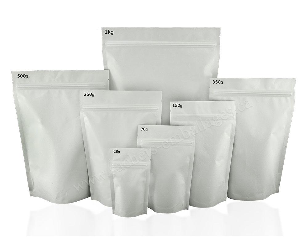 Pochettes debout en papier blanc