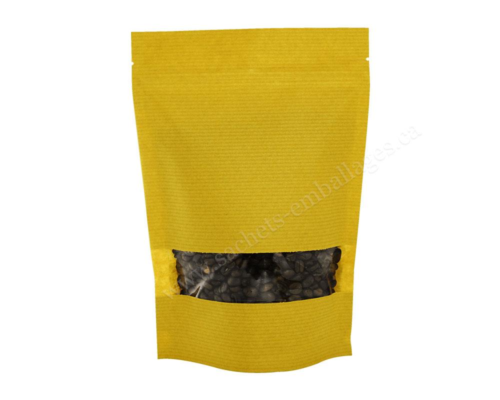 Sachet debout  avec pleine fenêtre rectangulaire en papier rayé de couleur jaune